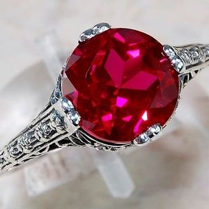 Jewelry - Beautiful 2ct Natural Ruby Ring.925 Silver Sz 7